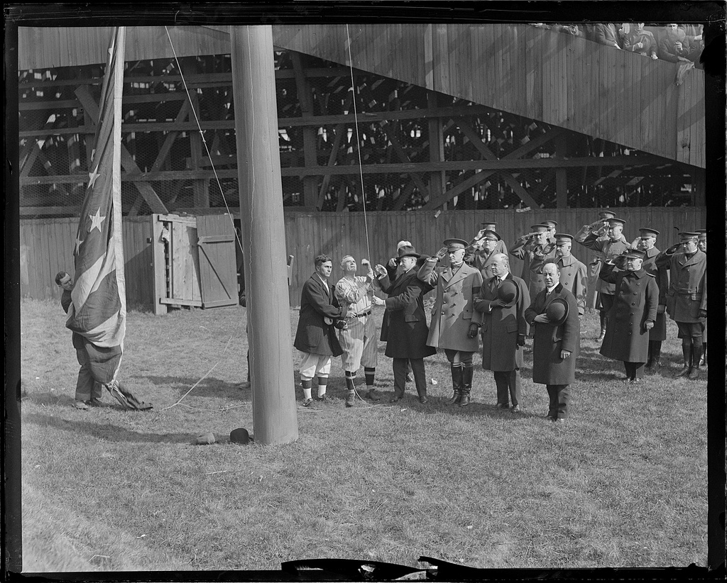 6208023203_b333fb35a5_b Gov CC with Washington Senators raise flag with Gen Edwards at Fenway Park