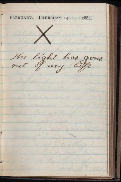 An entry from Theodore Roosevelt's diary upon the death of his wife and mother on the same day.