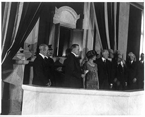 "Coolidges at the dedication of ""shrine"" in the Great Hall of the Library of Congress, transitioning the Declaration and Constitution from State Department vaults to display for the general public at the Library, February 28, 1924. The two parchments were, to the amazement of all present that day, presented in cases between specially developed gelatine films for their preservation from the damage of light and temperature while still keeping them visible to all who would visit the site."