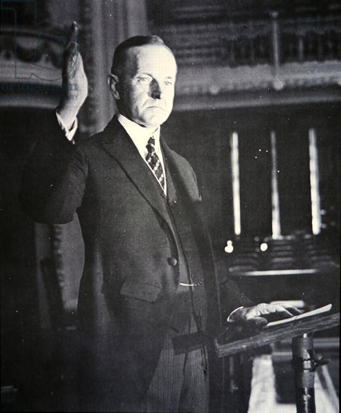 PNP254191 Calvin Coolidge (1873-1933) (b/w photo) by American Photographer, (20th century); Private Collection; (add.info.: 30th President of the United States (1923-29);); Peter Newark American Pictures; American, out of copyright