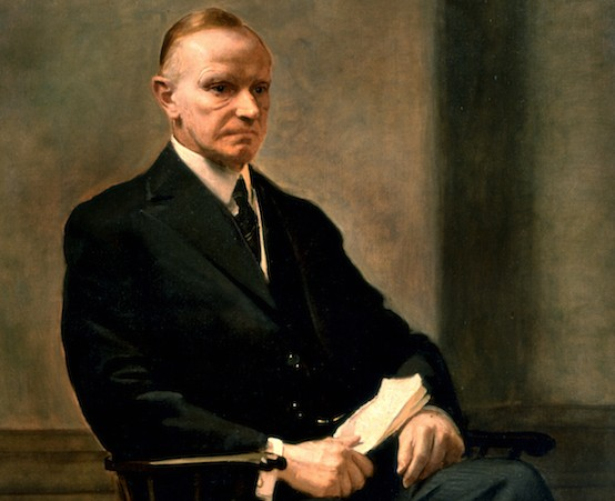 Calvin Coolidge, the official White House portrait by Charles Hopkinson, completed after Cal's retirement from public life, 1932. His years of fighting the Washington establishment were said to be evident on his face in this depiction.