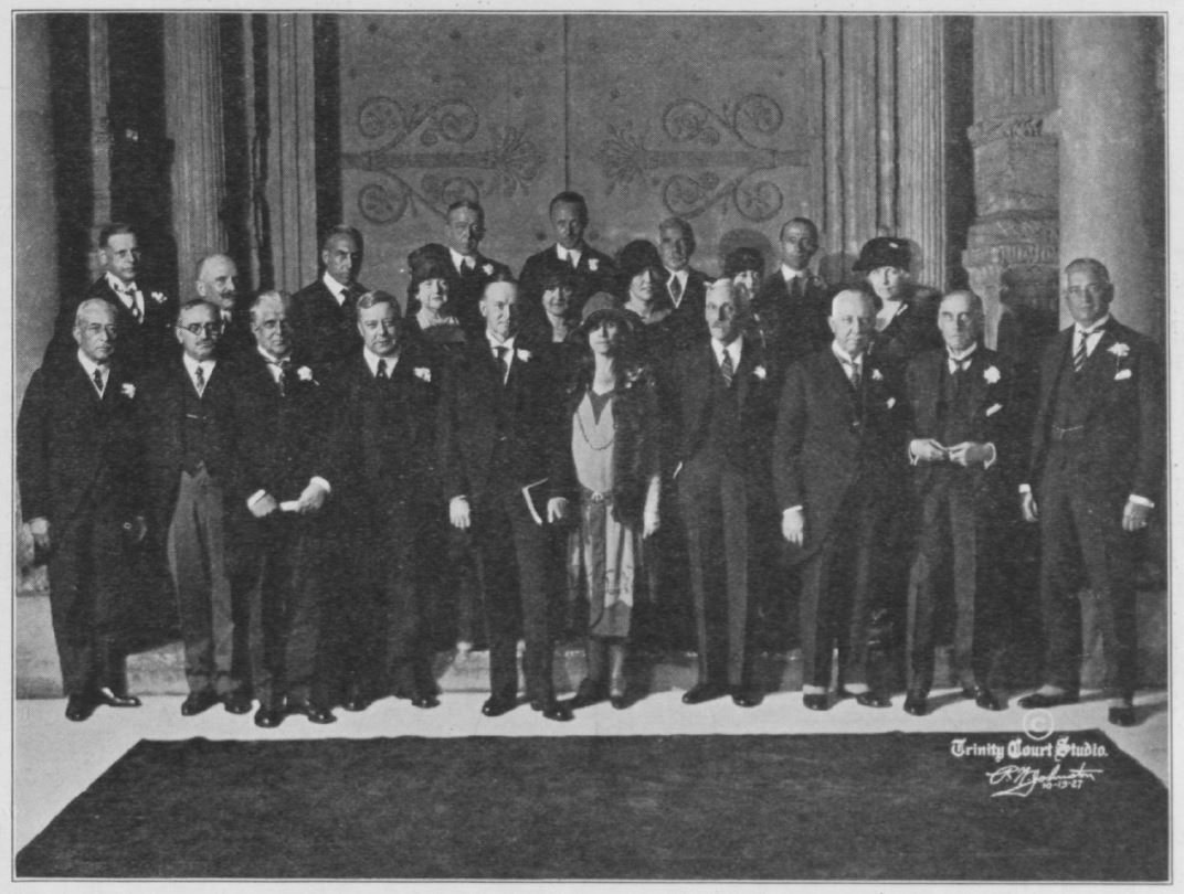 President and Mrs. Coolidge at the opening day of the Carnegie International Exhibition, Pittsburgh's Music Hall, October 13, 1927. First Row: George Cretziano, Paul Claudel, James J. Davis, Daniel Winters, Mr. and Mrs. Coolidge, Andrew W. Mellon, Richard B. Mellon, Samuel Harden Church, Charles H. Kline. Second Row: Edgar Prochnik, J. H. van Royen, Rev. Dr. John Ray Ewers, Mrs. Richard B. Mellon, David A. Reed, Madame Prochnik, Robert Silvercruys, Mrs. Davis, Otto H. Kahn, Mlle. Cretziano, Count Marchetti, and Mrs. Church.