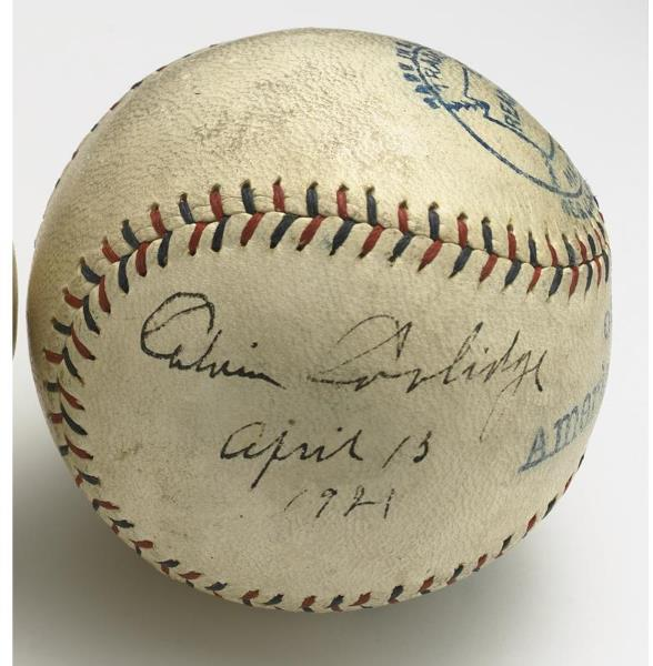This was by no means his first signing of a baseball, for at Griffith Stadium on April 13, 1921, Coolidge, then as Vice President, signed this memento from the game that day for the American League. Unfortunately, the Washington Senators lost their home opener against the Boston Red Sox. Of course, we know the Senators would go on to win the World Series in 1924 after Coolidge became President. Coincidence?