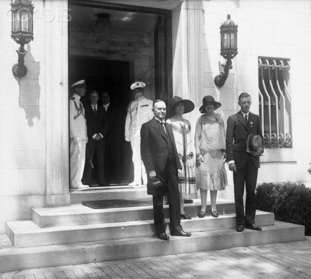 Lindbergh and his mother are guests of President and Mrs. Coolidge at the temporary White House at Dupont Circle, June 11, 1927.