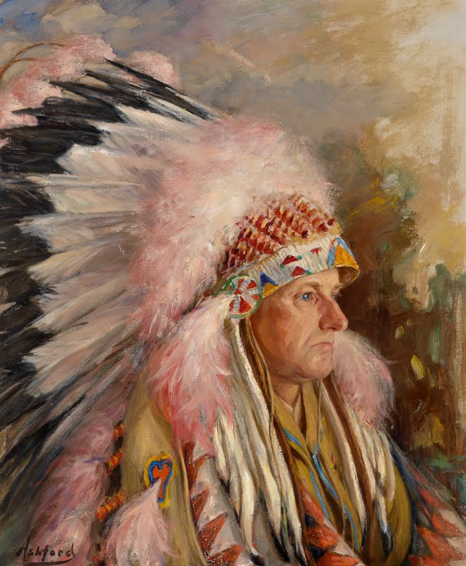 Frank Ashford's portrait of Calvin Coolidge done in South Dakota the summer before this speech at Pittsburgh. Depicted in the headdress gifted to him, the President presents a resplendent profile as he gazes contemplatively into the distance.