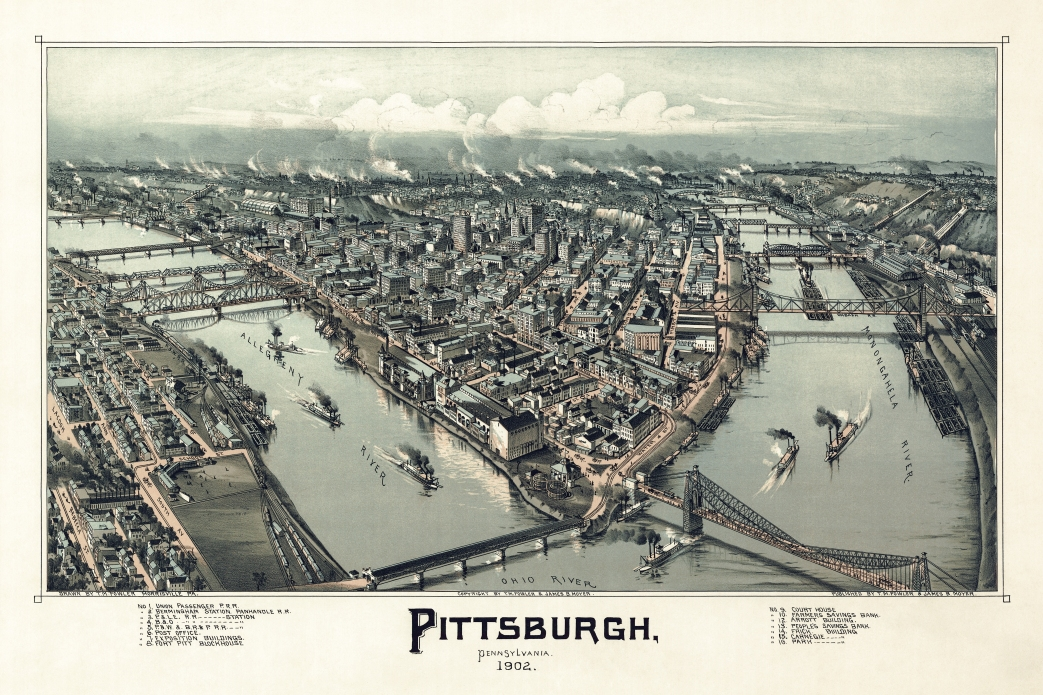 Pittsburgh as it appeared in 1902, depicted by Thaddeus M. Fowler.