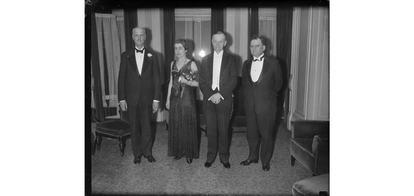 Former President and Mrs. Coolidge, honored guests at the Vermont Dinner held in Boston, February 1932.