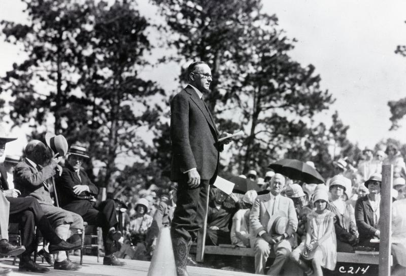 President Coolidge dedicating the Rushmore Monument, August 10, 1927.