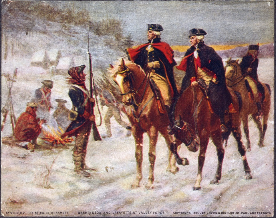 General Washington and Lafayette, where the American forces established camp at Valley Forge, Pennsylvania, 20 miles to the north and west of British-held Philadelpia, on this day, December 19, 1777.