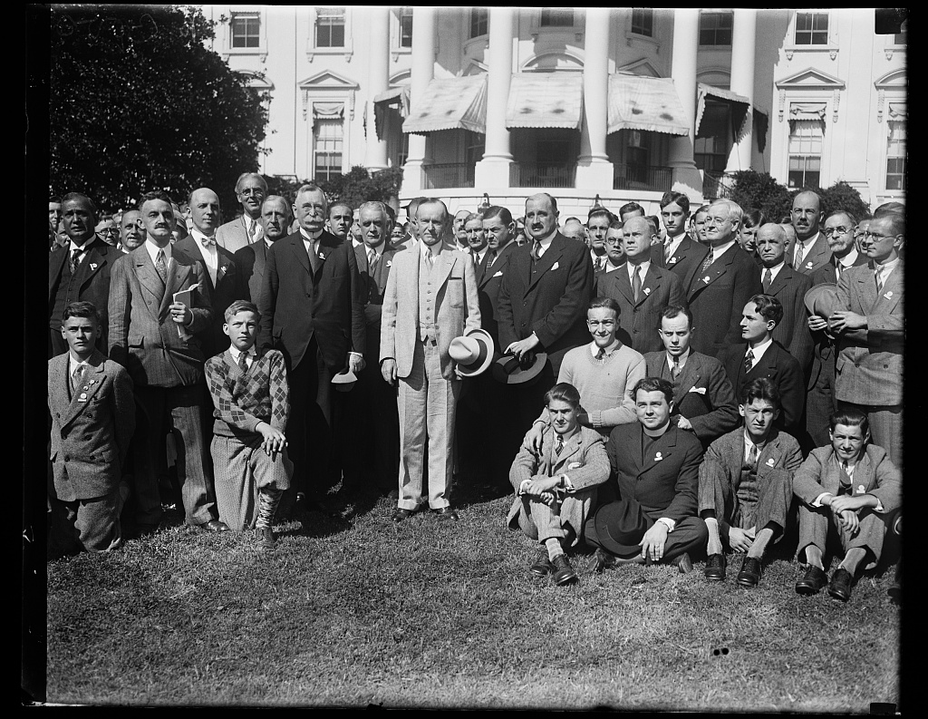 President Coolidge with a group visiting the White House, 1928. Courtesy of the Library of Congress.