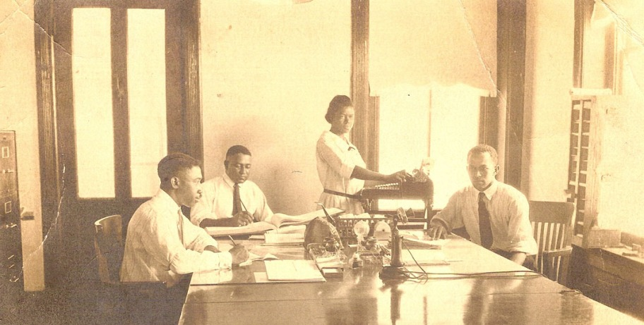 Snapshot from a business office in Hempstead, Texas, 1920s.