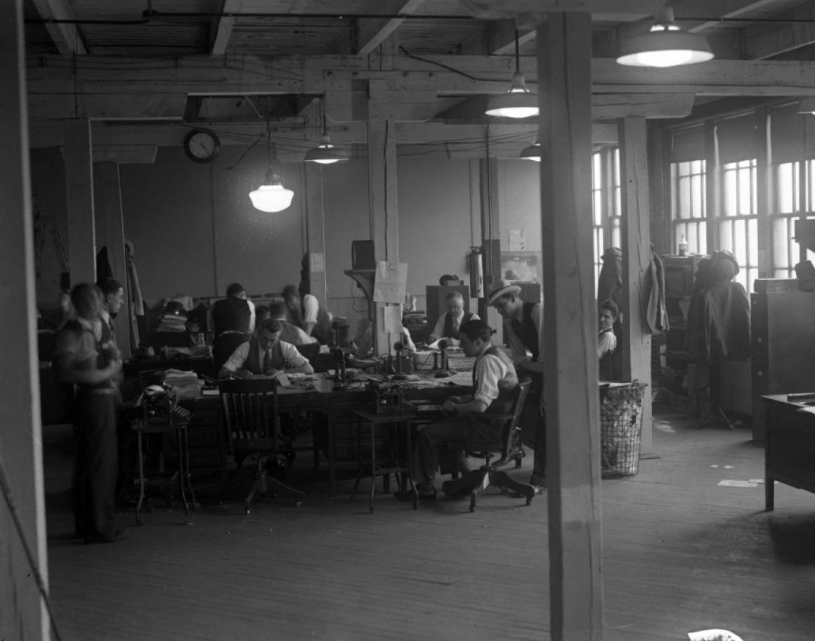 The New York Daily News editorial department, 1920s.