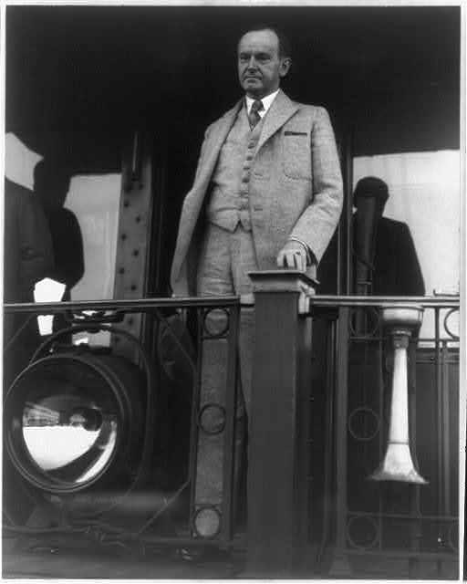 President Coolidge en route to Brule, Wisconsin, earlier that year, June 14, 1928.