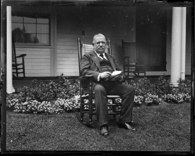 The selfless Frank Waterman Stearns, Coolidge's greatest champion at the 1920 and arguably 1924 conventions. Here he sits in a rocker at his home in Swampscott, Massachusetts.
