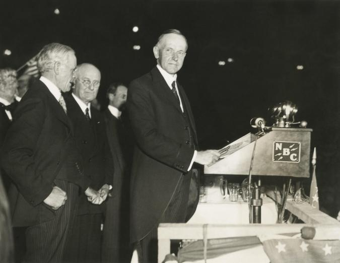 Calvin Coolidge spoke in support of Herbert Hoover, at Madison Square Garden. On October 11, 1932, the former Republican Preside