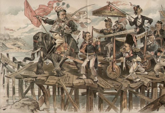 "One of several ""Puck"" cartoons depicting the ""waving of the bloody shirt,"" an appeal to the sacrifice of martyrs, heroes, and patriots as a distraction from a policy question or an otherwise weak political campaign. This is from 1884 but, unfortunately, there is no Grover Cleveland running this time."