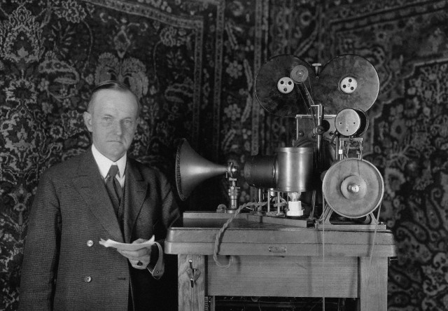 Calvin Coolidge with Pallophotophone