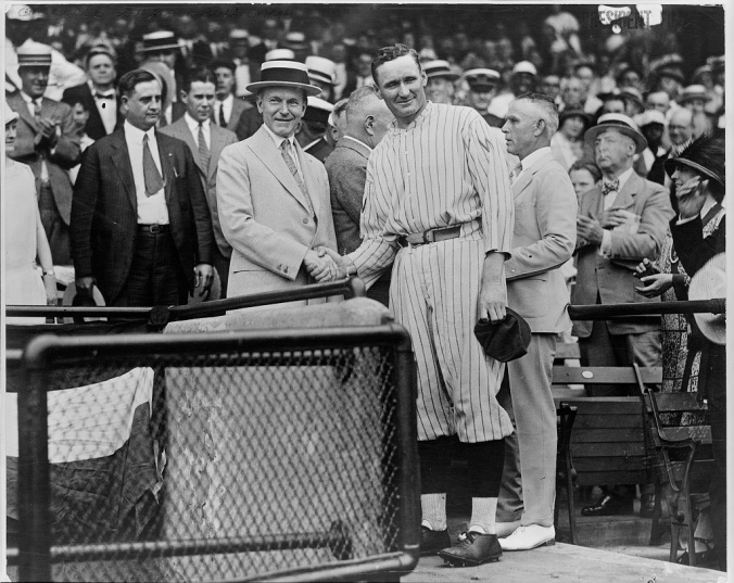 3a33251v CC Walter johnson shaking hands at Griffith Stadium