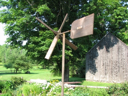 A reproduction of the weather vane constructed by the Coolidge's youngest son, Calvin Jr., before his untimely death at age 16 in 1924. It was taken down by Grace Coolidge after the young boy's body was laid to rest at the cemetery while a spruce from the lime kiln lot was dug up and prepared for transplanting on the South Lawn of the White House upon their return that July of 1924.