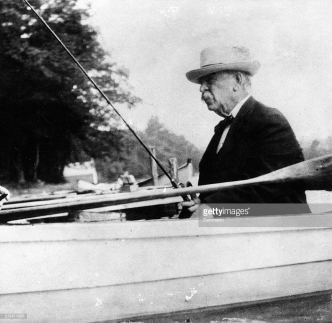 (Original Caption) Former President Grover Cleveland fishing in canoe; closeup. Ca. 1904 photo.