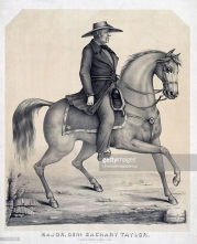 UNSPECIFIED - CIRCA 1850: Zachary Taylor (1784-1850) American soldier and 12th President of the United States 1849-1850. Lithograph of General Taylor riding his horse. (Photo by Universal History Archive/Getty Images)