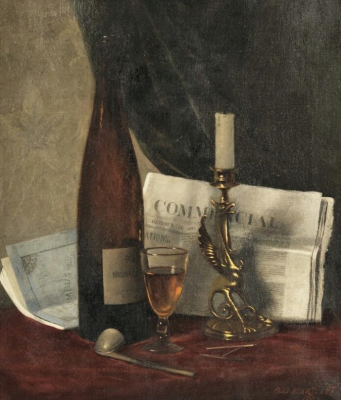 Still Life with Newspaper, Candle, Pipe, and Wine Glass
