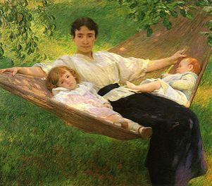 The Hammock, 1895. Depicts wife Edith, daughter Sally and son Ted.
