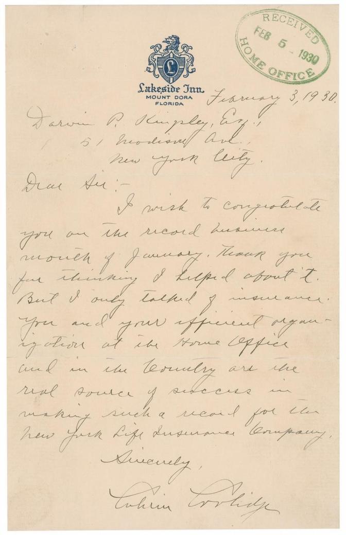 Lakeside Inn Letter by CC 2-3-1930