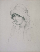 Portrait of a Woman in Feathered Hat, 1922. Graphite.