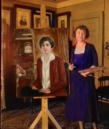 Partial tint of Miss Thompson's portrait of Grace Coolidge. Tinting work done by roused @ steemit.com.