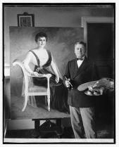 Artist beside his work, Mrs. Edith Wilson.