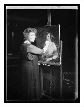 Miss Thompson finishing a portrait.