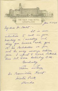 Vinoy CC letter to Holt