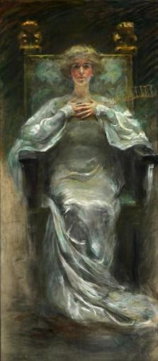 """Woman in White, another tribute to """"Lady Alice"""" Barney. Pastel. Photo credit: Smithsonian."""