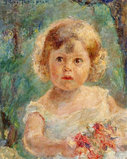 Young Girl Holding a Flower Bouquet