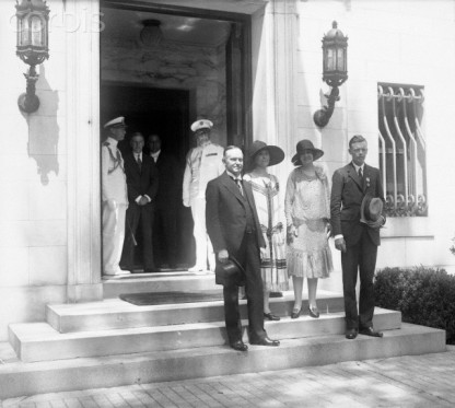 11 Jun 1927, President and Mrs. Calvin Coolidge are shown with Colonel Charles Lindbergh and mother at the Patterson House on DuPont Circle in Washington, D. C.,by © Bettmann/CORBIS