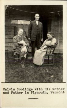 The caption for this postcard is partly incorrect, of course: The woman seated across from Coolidge is not his mother but an older sister of his mother, aunt Gratia Moor.