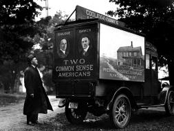 Colonel inspects Coolidge Tour van before departure Sep 1924