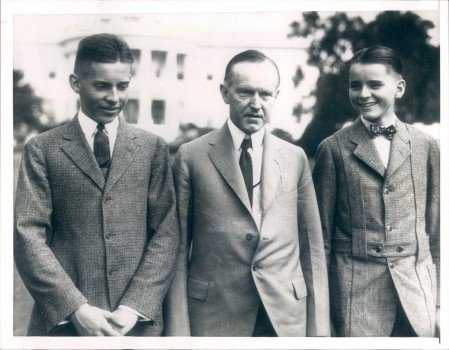 The Coolidge boys enjoy a joke from their father.