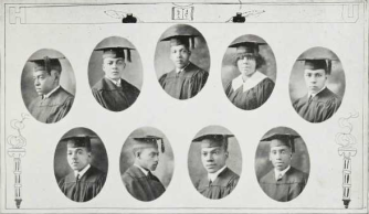 Howard University graduating class of 1924: Top-Melvin Banks, Elmer Binford, John Bowman, Estelle Brockington, Ulysses Brooks; Bottom-Philip Brooks, Foster Brown, Joseph Bryant, Arthur Burke