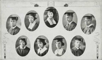 Graduating Class (1924): Top-DeRuyter Butler, Edith Butler, (Mrs). Clyde Chavis, Joseph Cheevers, James Clark; Bottom-Annie Cottrell, Lydia Crawford, Bessie Davis, Fred Davis