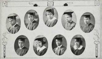 Graduating Class (1924): Top-Joseph Dodson, Charles Dorsey, Corese Eaton, William Edelin, John Edwards; Bottom-Joseph Elliot, Marie Estelle, D. Vincent Estill, Mabel Frey