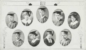 Graduating Class (1924): Top-A. Crofton Gilbert, Dorothy Gillam, Harold Gray, Melvin Green, Mae Lee Hardie; Bottom-Charles Harris, Alpha Hayes, Edna Hoffman, J. Albert Holmes