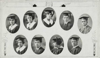 Graduating Class (1924): Top-Joanna Houston, Julia Hubbard, Nellie Hubert, Wilson Inborden, Dewey Jackson; Bottom-Pamella Jackson, J. Edward Joice, Jr., Martha Jones, Hernon Jones