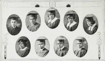 Graduating Class (1924): Top-Louis E. King, Robert E. Lee, Sarah Lewis, Mary Mack, Elnora McIntyre; Bottom-Julia Le Seuers Marsh, William M. Menchan, Saint Mizell, Allan Moore