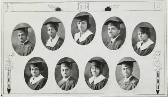 Graduating Class (1924): Top-Samuel Murray, Josephine Nolls, Mamie Neale, Clifton Nelson, Arleathia Parr; Bottom-Pauline Parker, Ellsworth Plummer, Florence Reed, Frederic Robb
