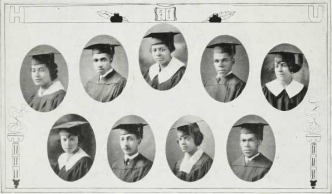 Graduating Class (1924): Top-Kanata Rodgers, Clifford Rucker, Fannie Smith, Howard Smith, Stella Shipley; Bottom-Harriette Stewart, William Spiller, C. Edythe Taylor, August Terrence Jr.