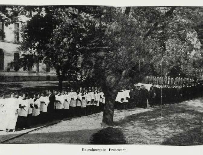 Howard University procession of baccalaureate graduates, 1924.