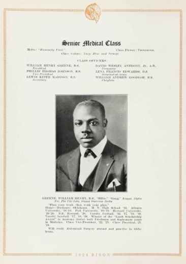 Howard's Medical Graduates, Class of 1924: beginning with William Henry Greene.