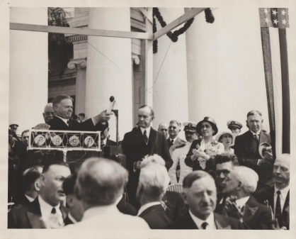 President Hoover and the Coolidges, joined by former Vice President Dawes and others present to dedicate the Harding Memorial, 1931.